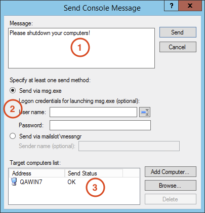 Send Console Message with SmartCode VNC Manager