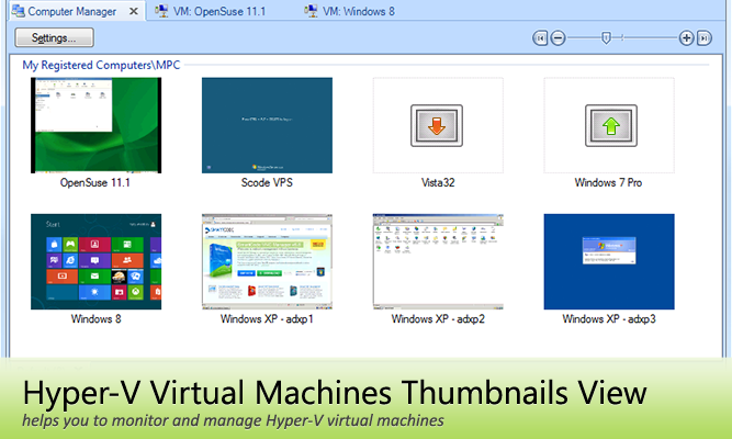 Hyper-V Virtual Machines Thumbnails View